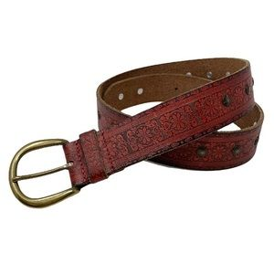 Lucky Brand Tooled Leather Belt Rust Brown S NWT